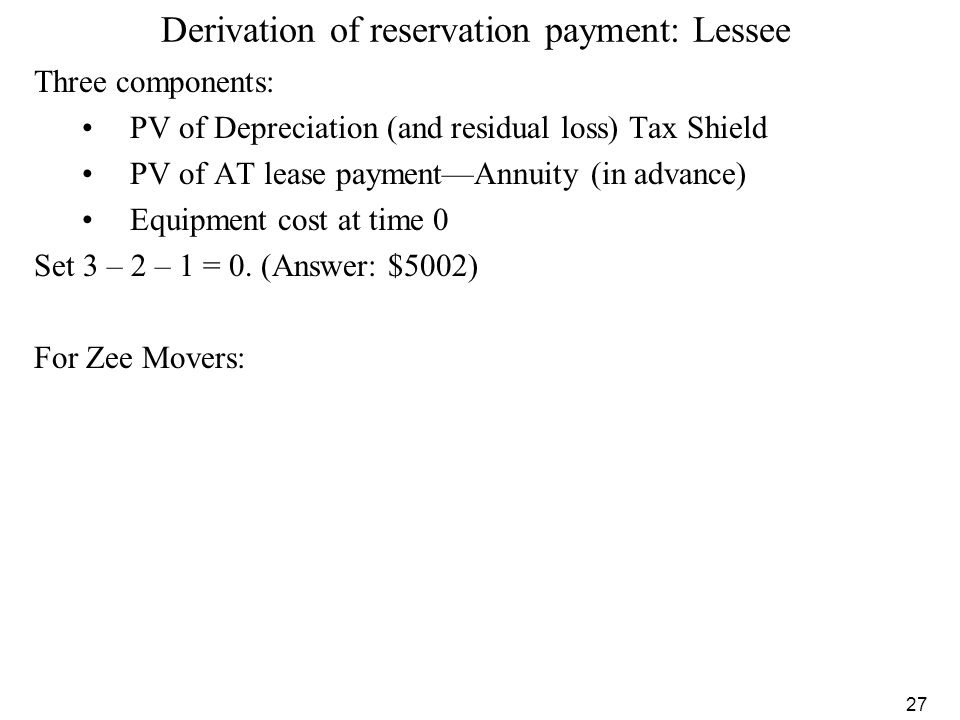 Derivation of reservation payment: Lessee