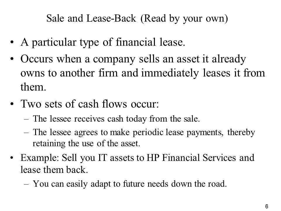 Sale and Lease-Back (Read by your own)