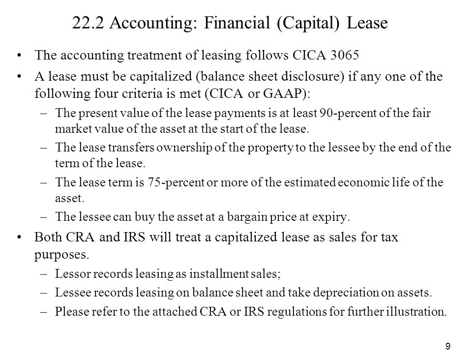 22.2 Accounting: Financial (Capital) Lease