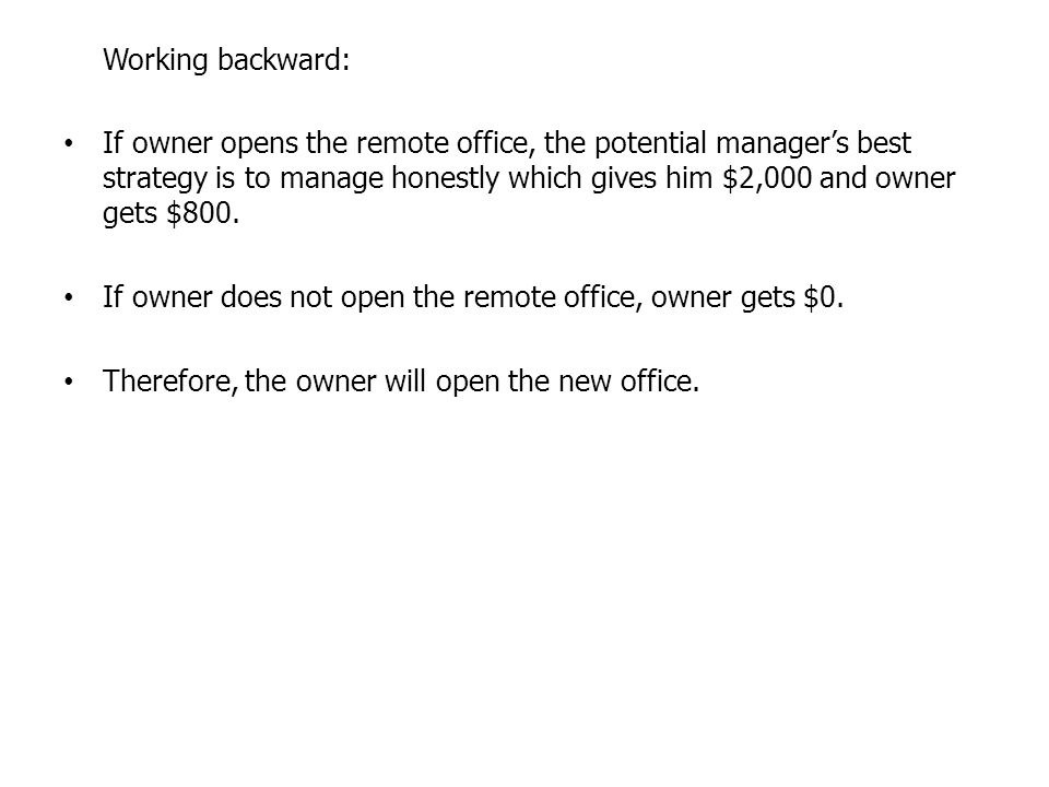 Working backward: