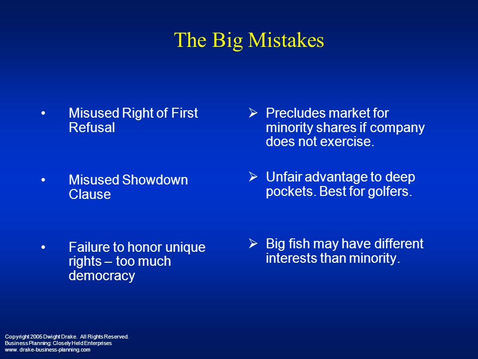The Big Mistakes Misused Right of First Refusal