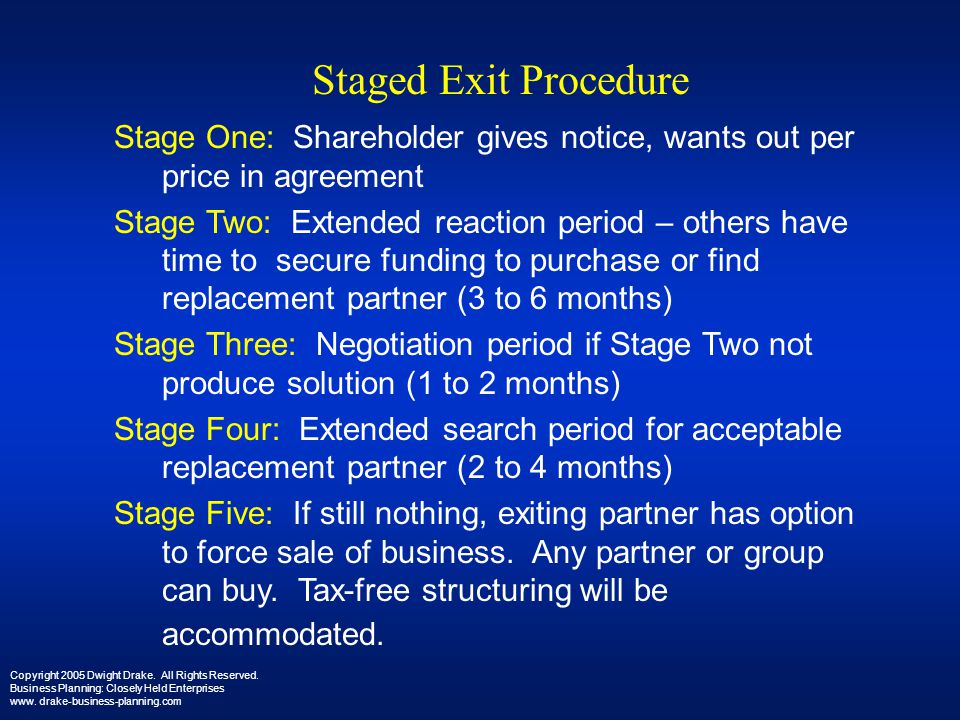 Staged Exit Procedure Stage One: Shareholder gives notice, wants out per price in agreement.