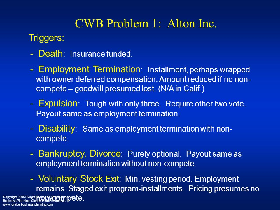CWB Problem 1: Alton Inc. Triggers: - Death: Insurance funded.