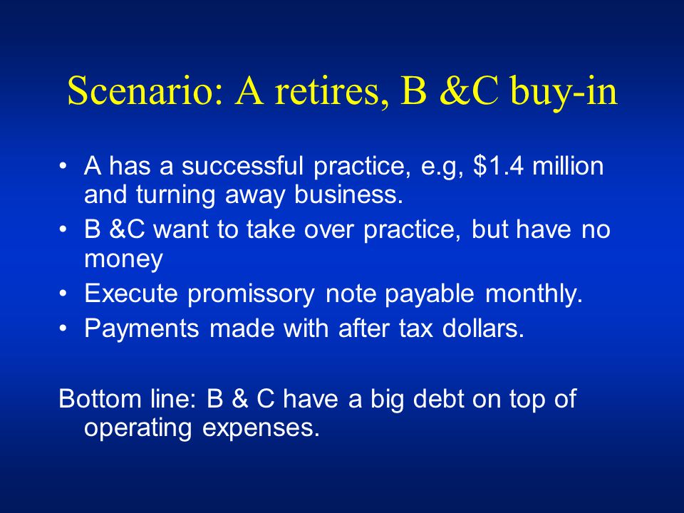 Scenario: A retires, B &C buy-in