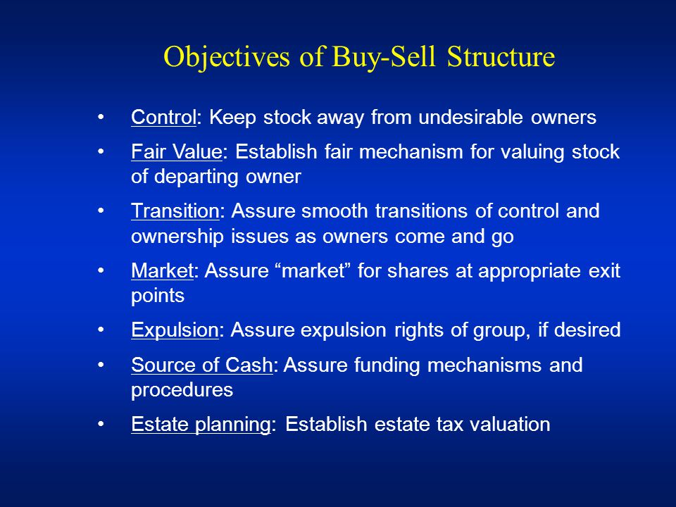 Objectives of Buy-Sell Structure