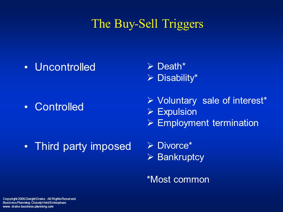 The Buy-Sell Triggers Uncontrolled Controlled Third party imposed