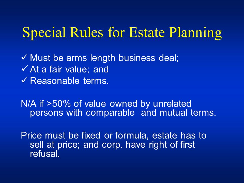 Special Rules for Estate Planning
