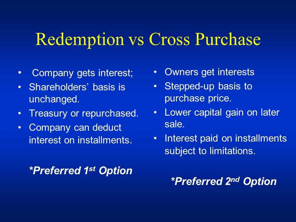 Redemption vs Cross Purchase