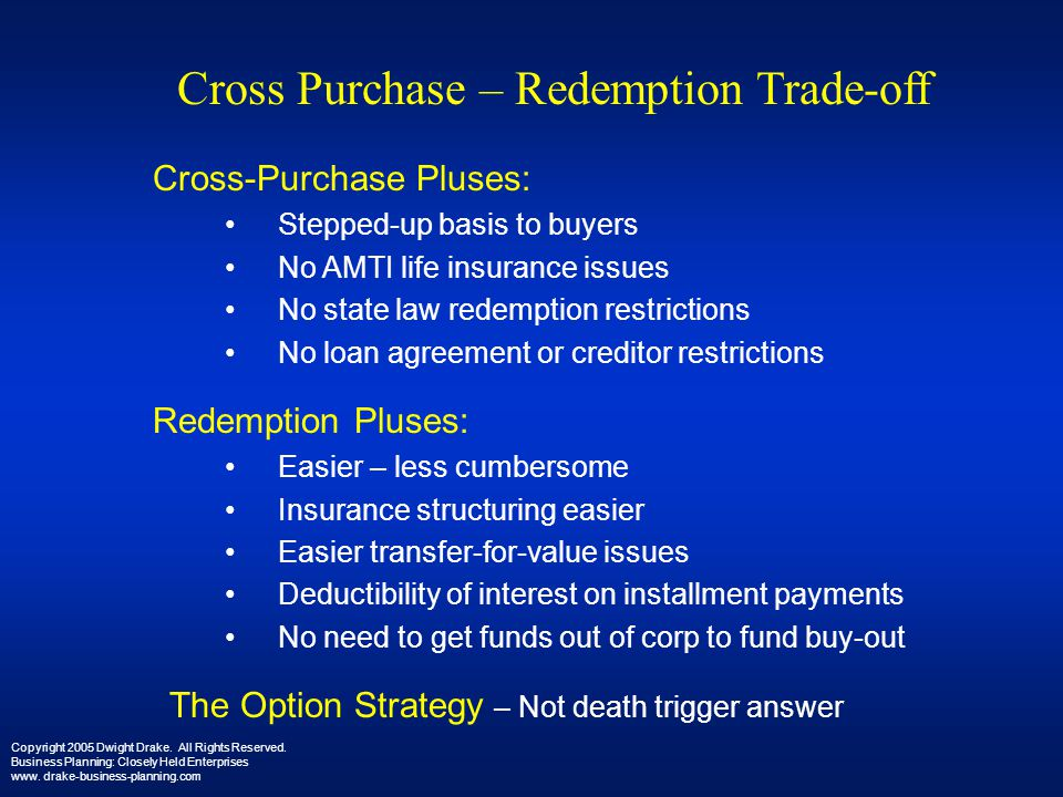 Cross Purchase – Redemption Trade-off