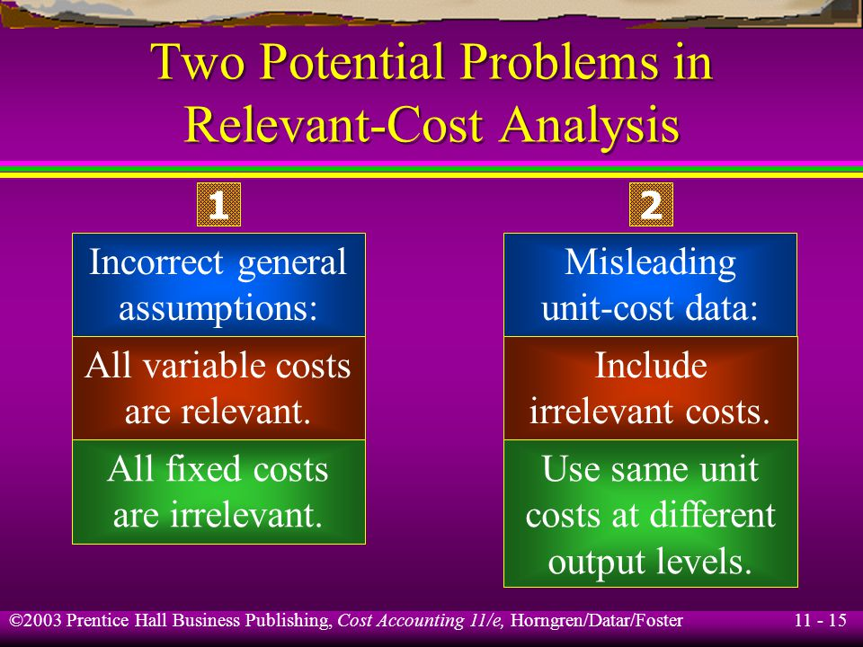 Two Potential Problems in Relevant-Cost Analysis