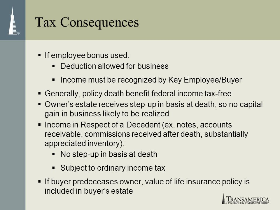 Tax Consequences If employee bonus used: