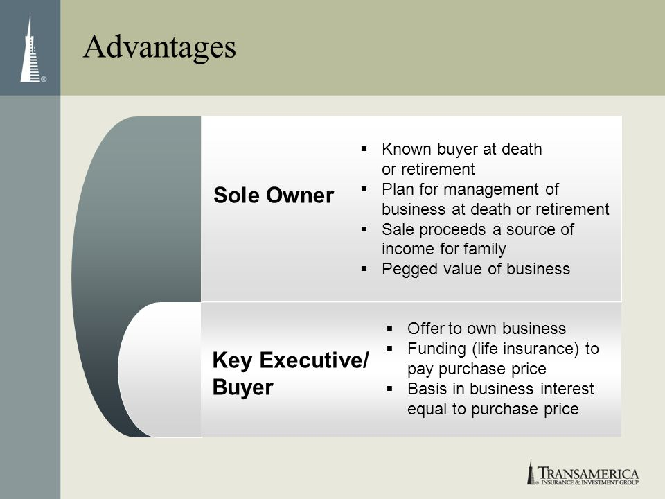 Advantages Sole Owner Key Executive/ Buyer