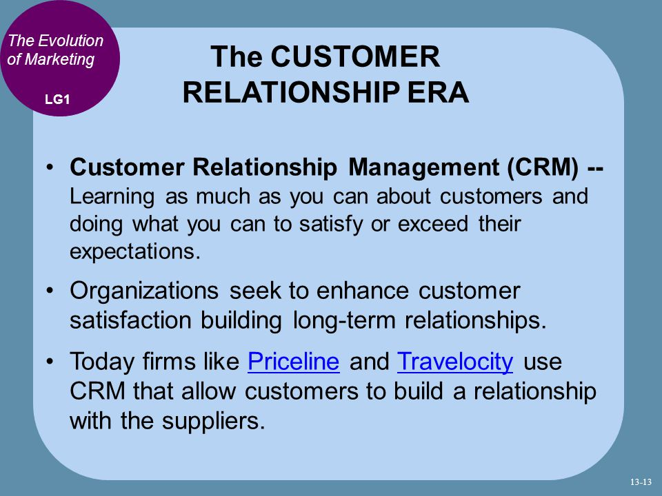 The CUSTOMER RELATIONSHIP ERA