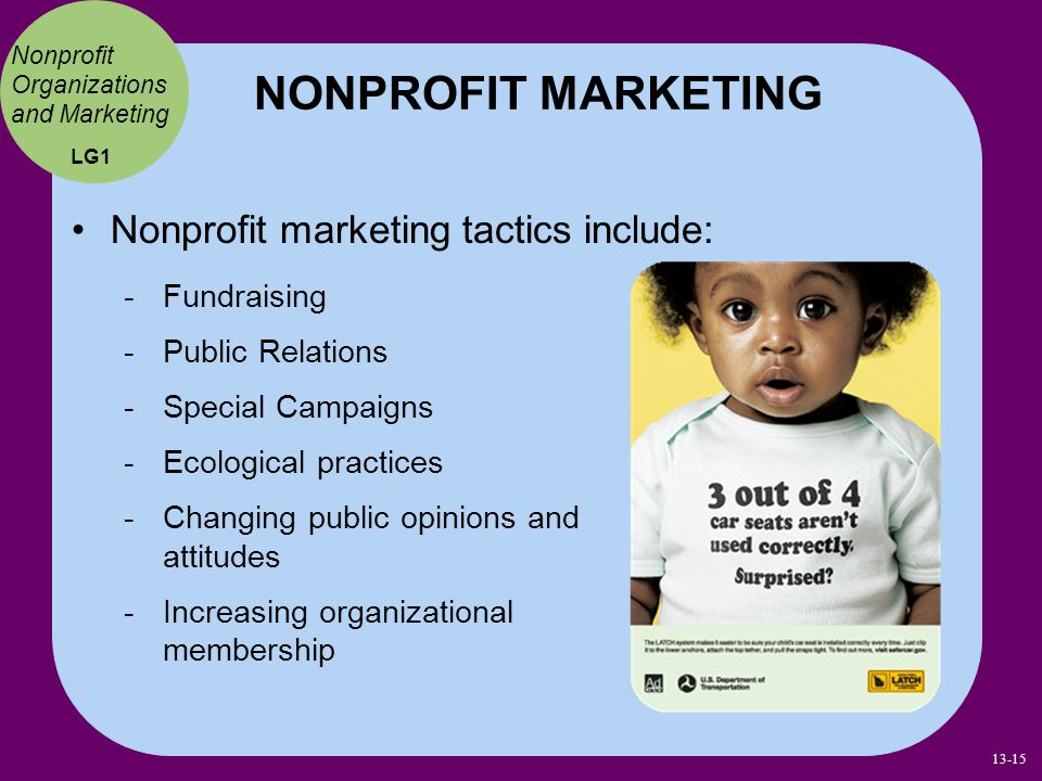 NONPROFIT MARKETING Nonprofit marketing tactics include: Fundraising