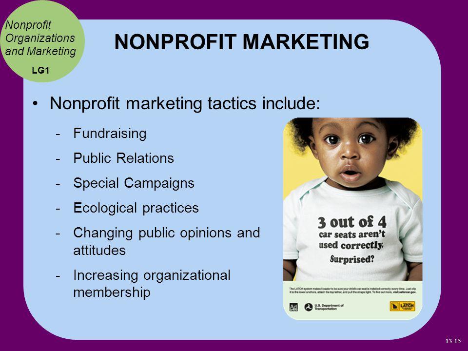 NONPROFIT MARKETING Nonprofit marketing tactics include: Fundraising