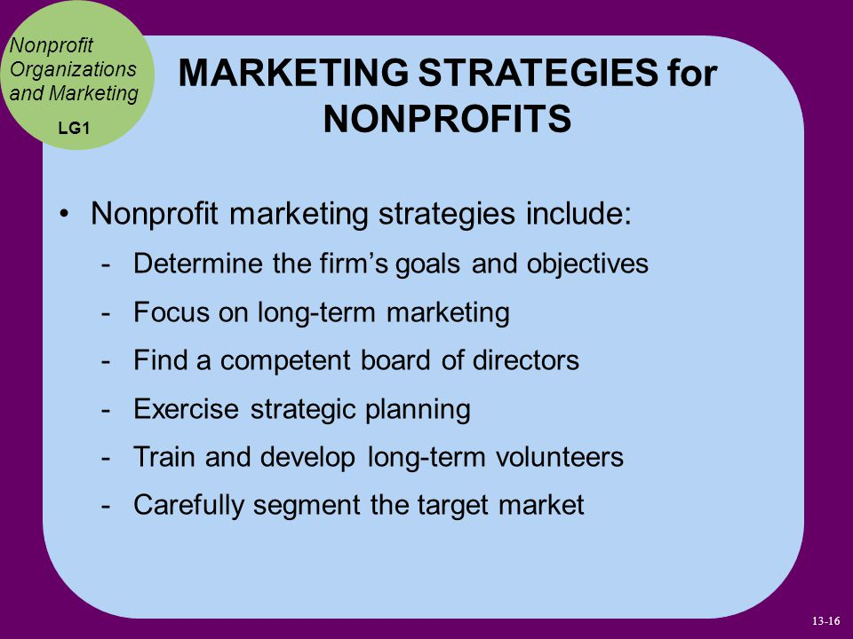 MARKETING STRATEGIES for NONPROFITS