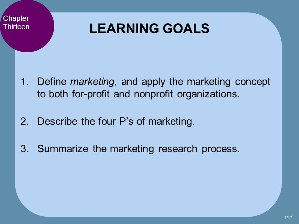 LEARNING GOALS Chapter Thirteen. Define marketing, and apply the marketing concept to both for-profit and nonprofit organizations.