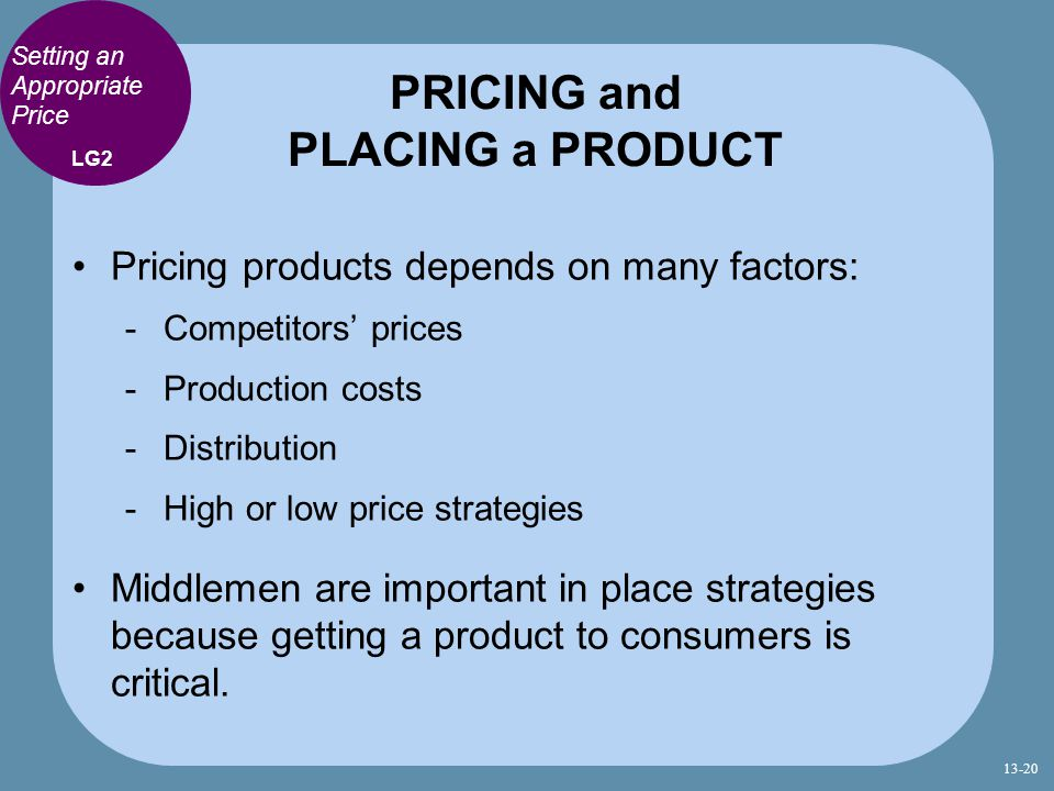 PRICING and PLACING a PRODUCT