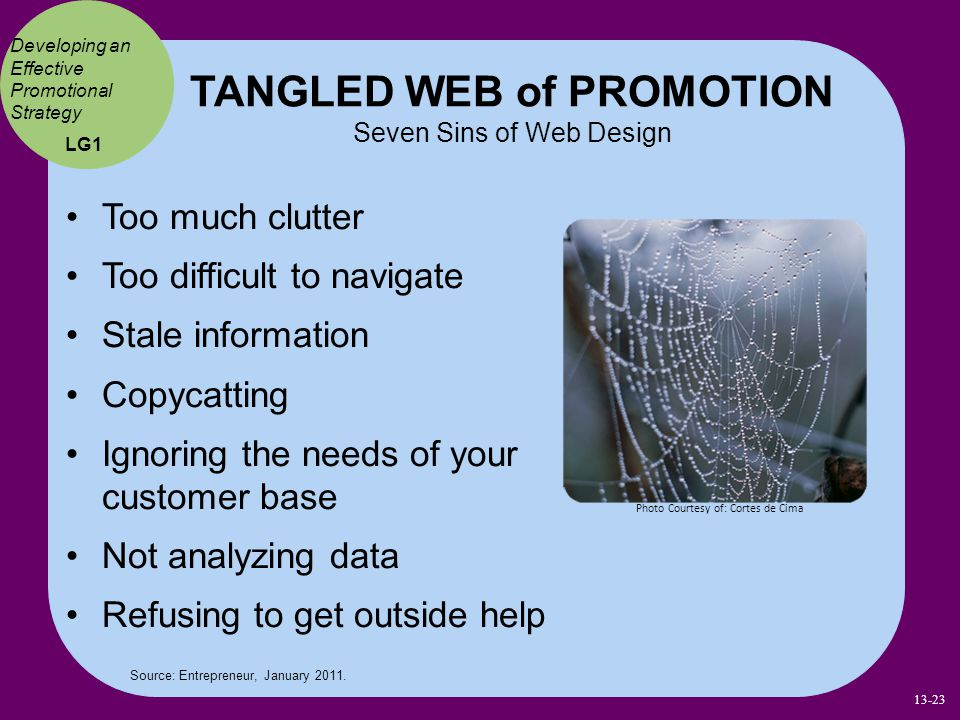 TANGLED WEB of PROMOTION Seven Sins of Web Design