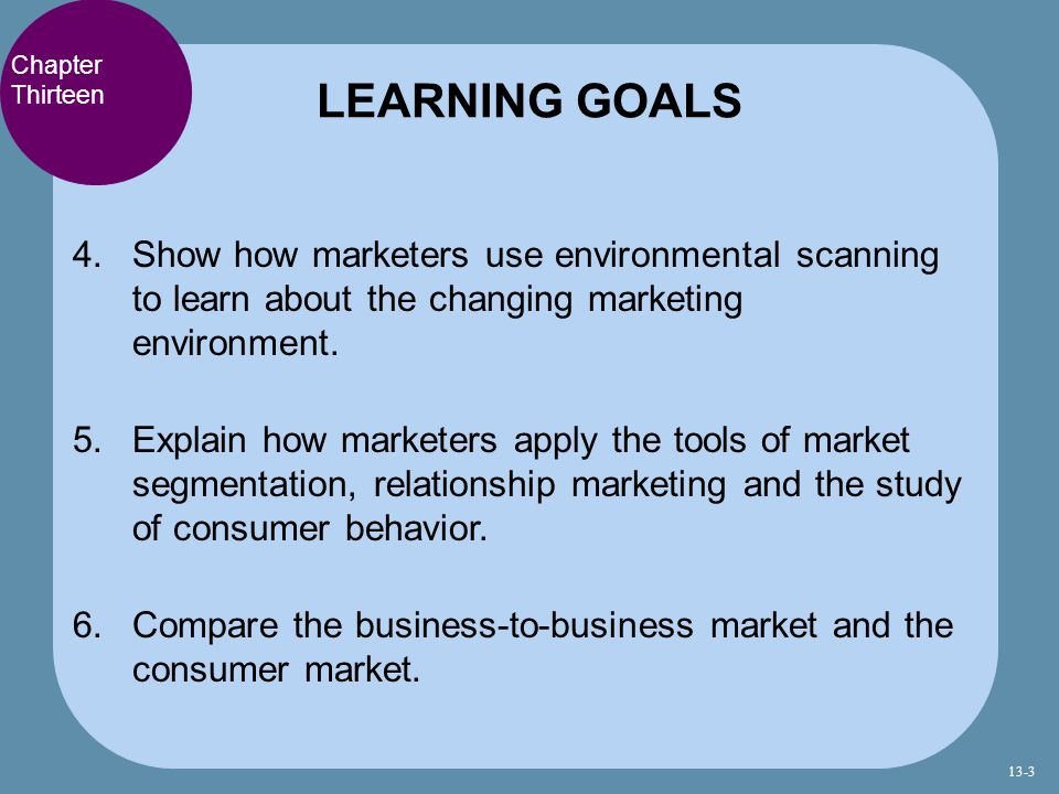 LEARNING GOALS Chapter Thirteen. Show how marketers use environmental scanning to learn about the changing marketing environment.