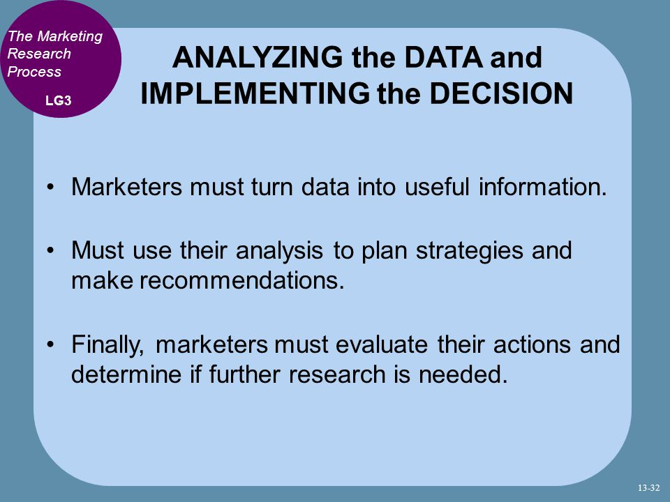 ANALYZING the DATA and IMPLEMENTING the DECISION