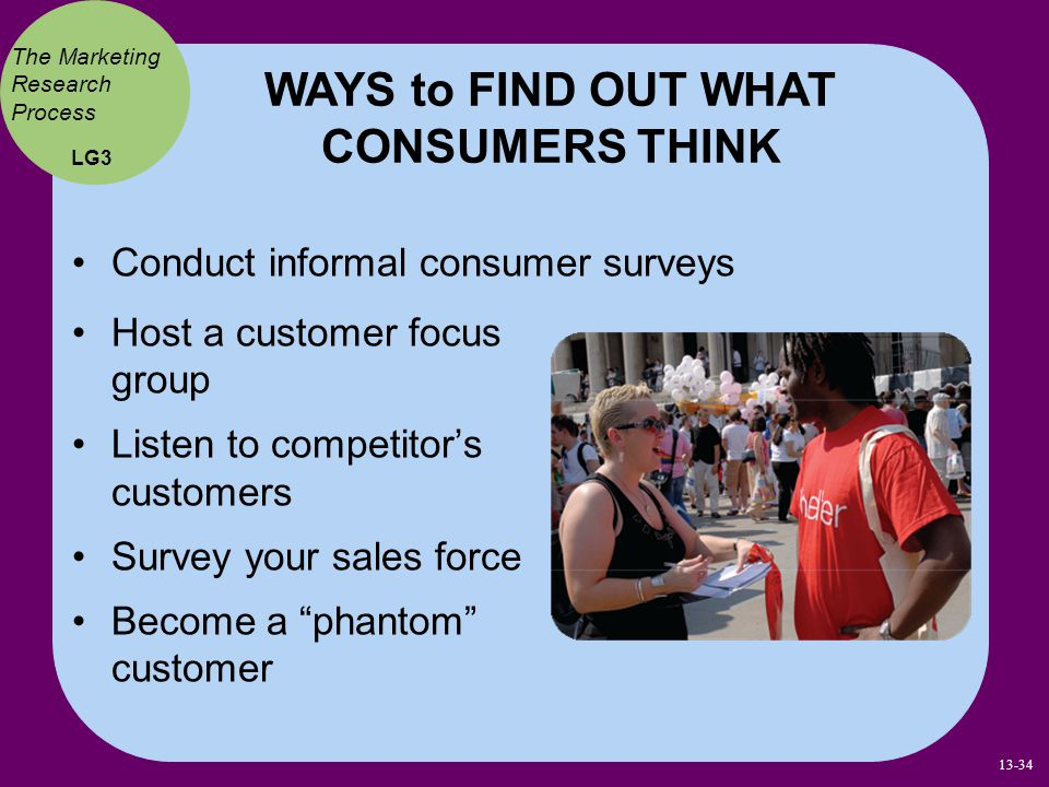 WAYS to FIND OUT WHAT CONSUMERS THINK