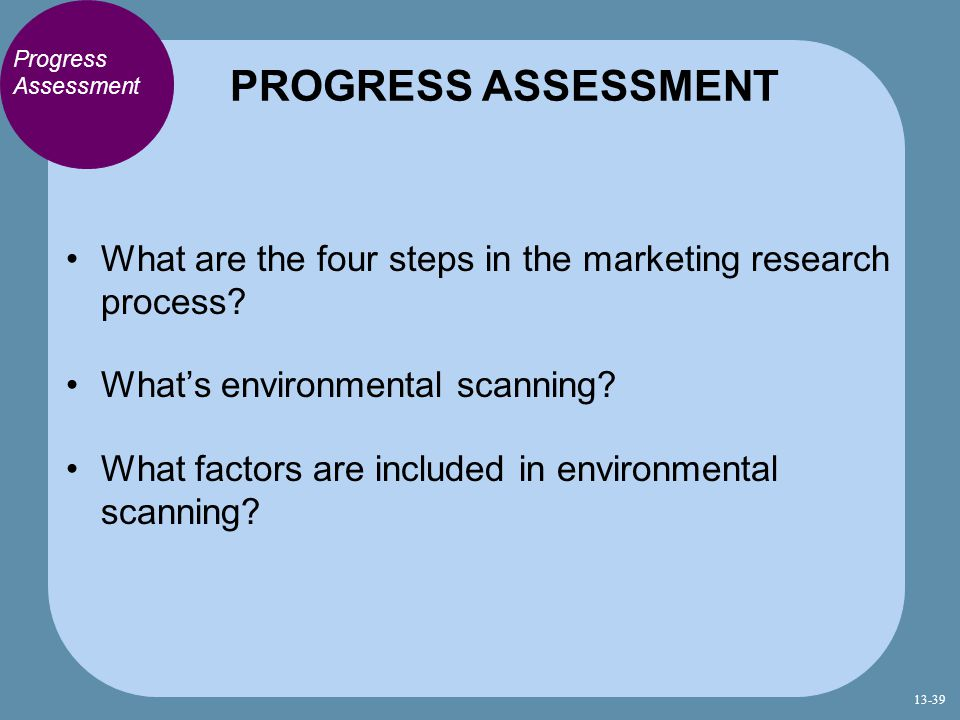 PROGRESS ASSESSMENT Progress Assessment. What are the four steps in the marketing research process