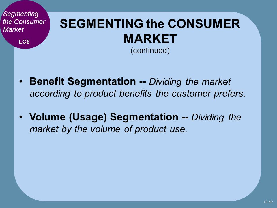 SEGMENTING the CONSUMER MARKET (continued)
