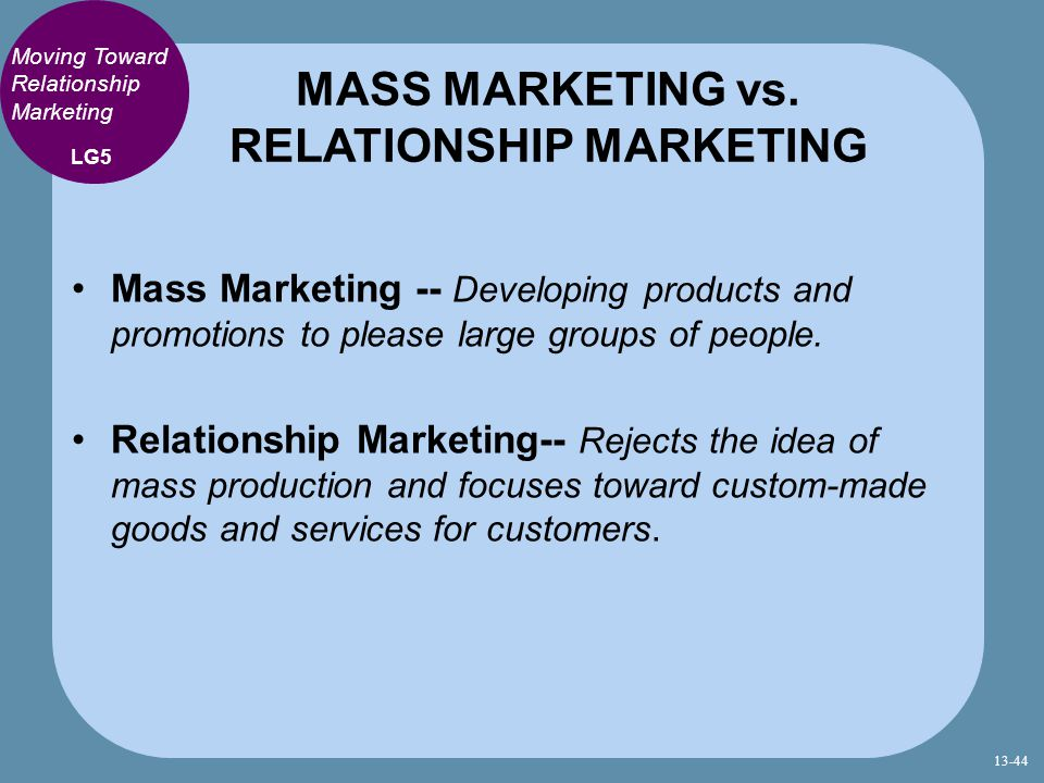 MASS MARKETING vs. RELATIONSHIP MARKETING