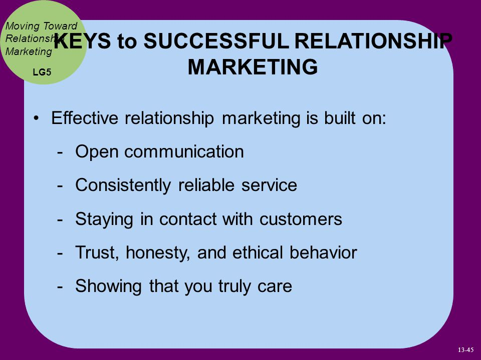 KEYS to SUCCESSFUL RELATIONSHIP MARKETING