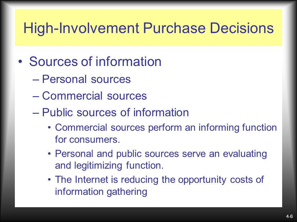 High-Involvement Purchase Decisions