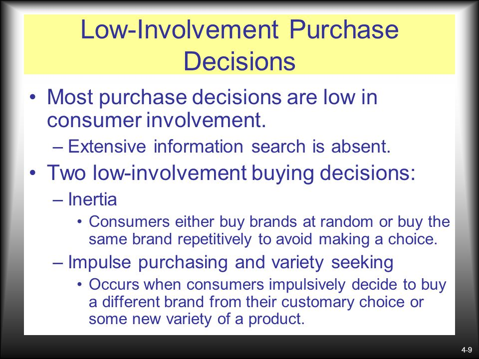 Low-Involvement Purchase Decisions