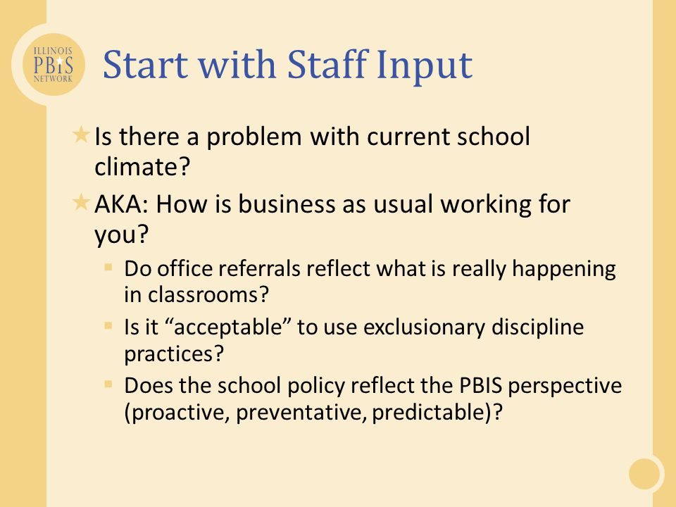 Start with Staff Input Is there a problem with current school climate