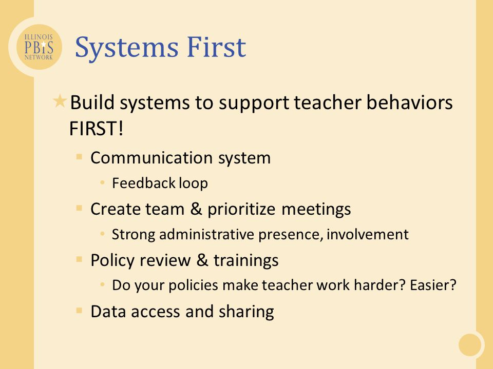 Systems First Build systems to support teacher behaviors FIRST!