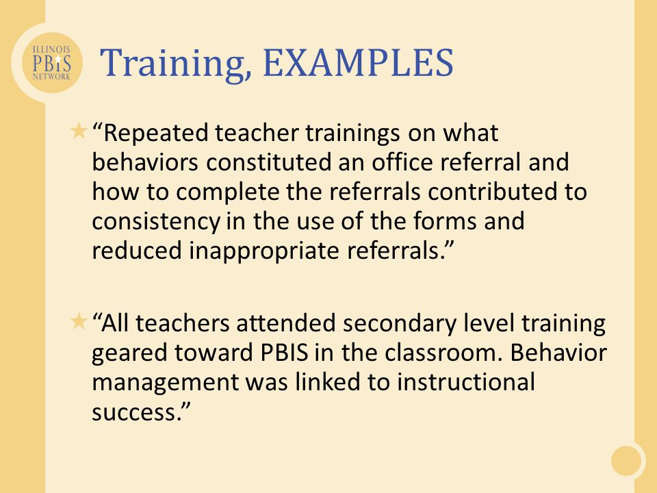 Training, EXAMPLES
