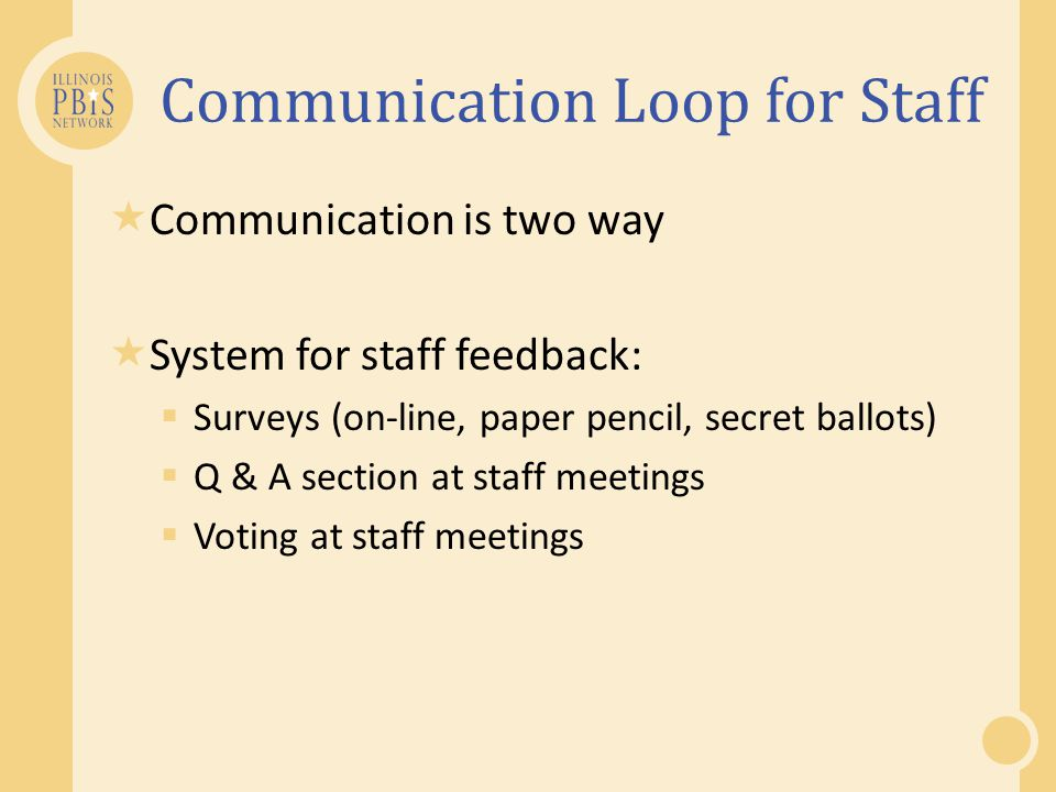 Communication Loop for Staff