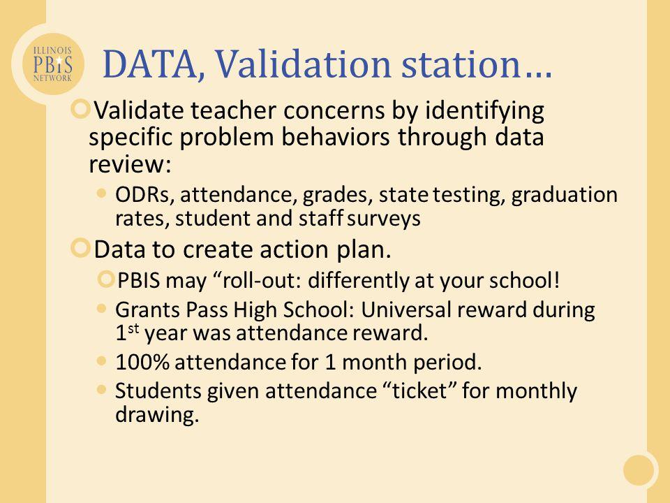 DATA, Validation station…