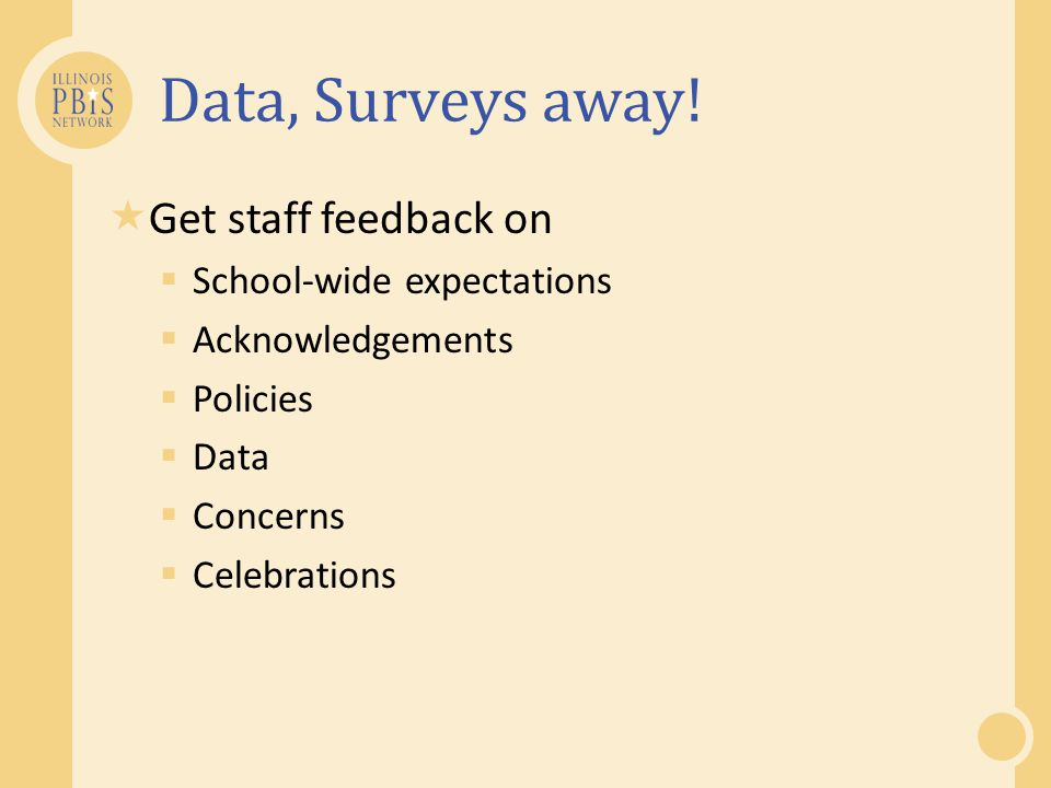 Data, Surveys away! Get staff feedback on School-wide expectations