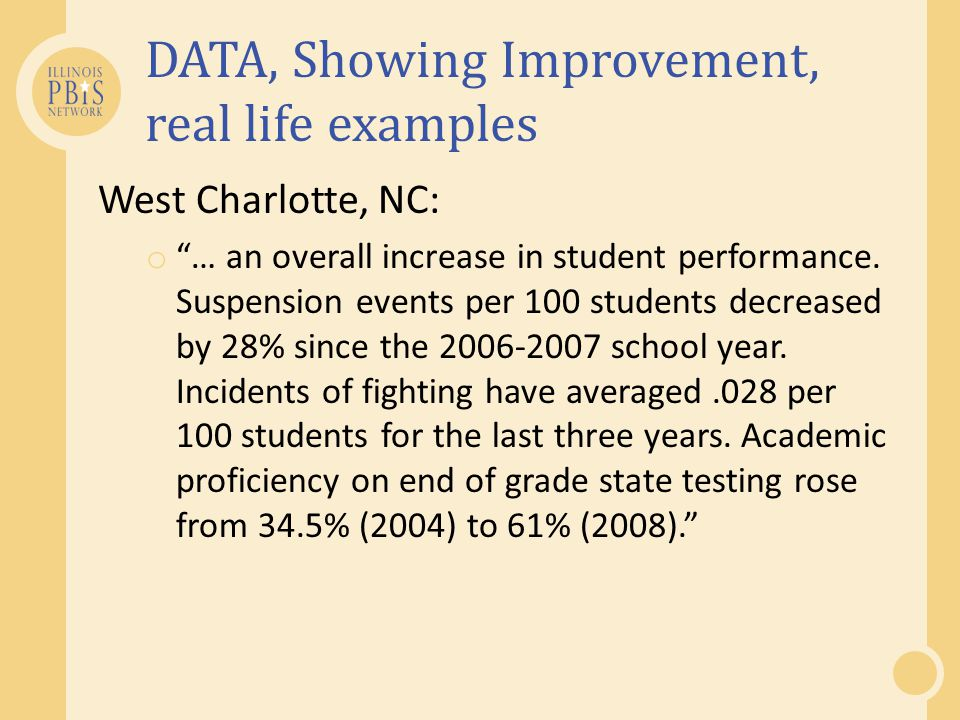 DATA, Showing Improvement, real life examples