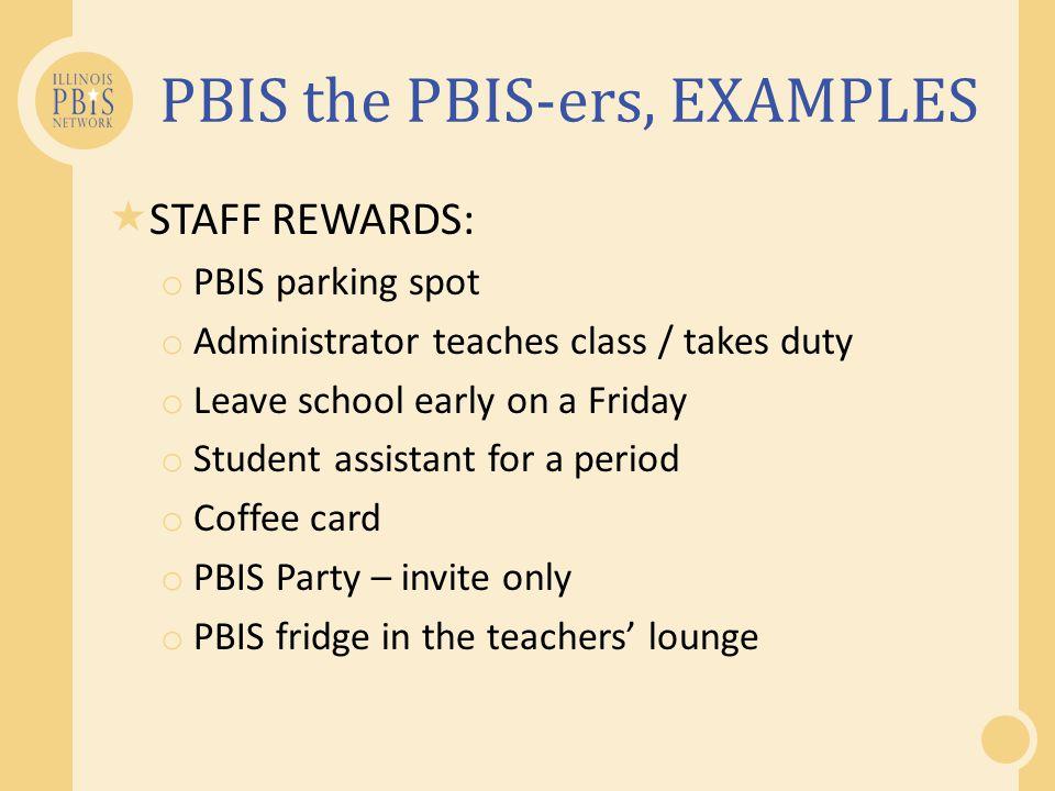 PBIS the PBIS-ers, EXAMPLES