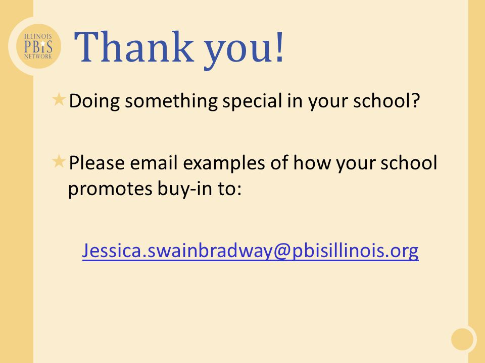 Thank you! Doing something special in your school
