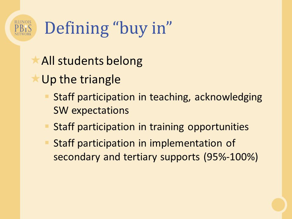 Defining buy in All students belong Up the triangle
