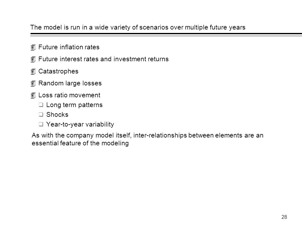 The model is run in a wide variety of scenarios over multiple future years