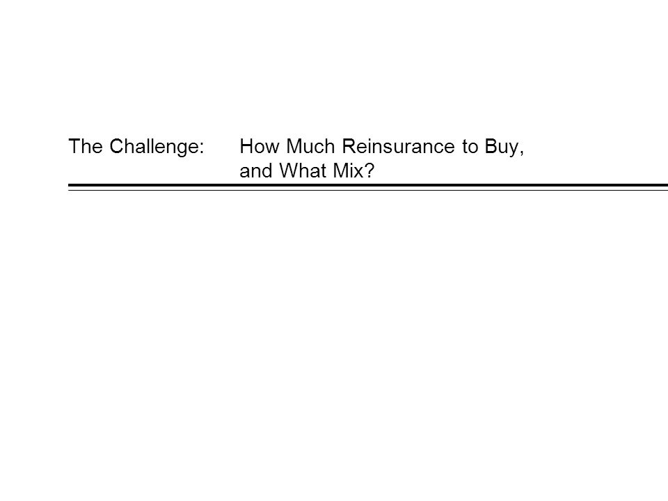 The Challenge: How Much Reinsurance to Buy, and What Mix