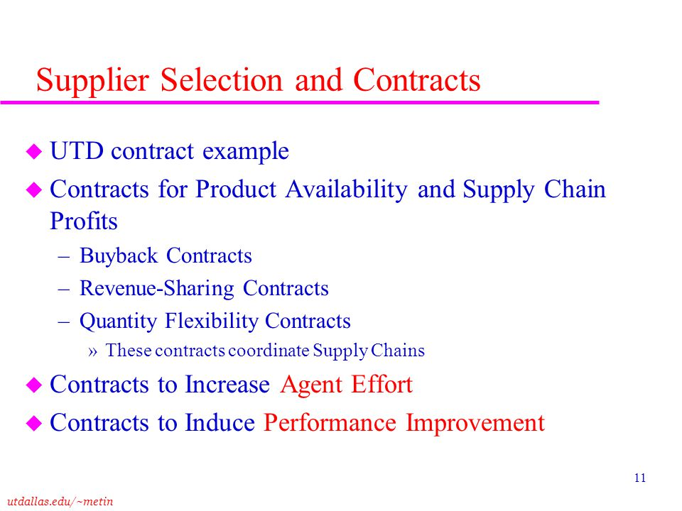 Supplier Selection and Contracts