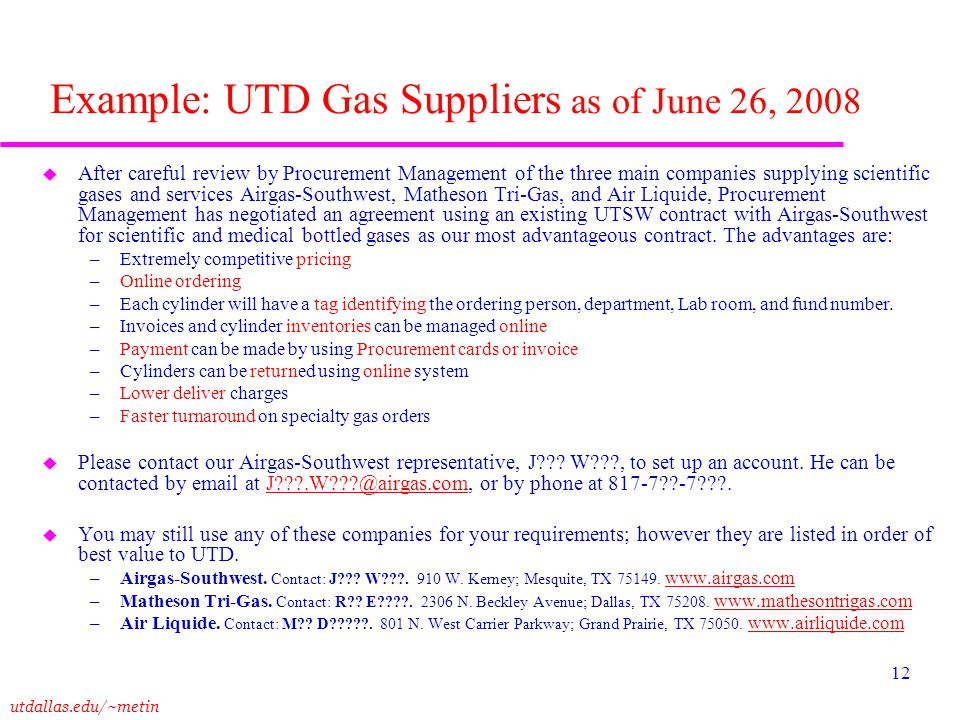 Example: UTD Gas Suppliers as of June 26, 2008