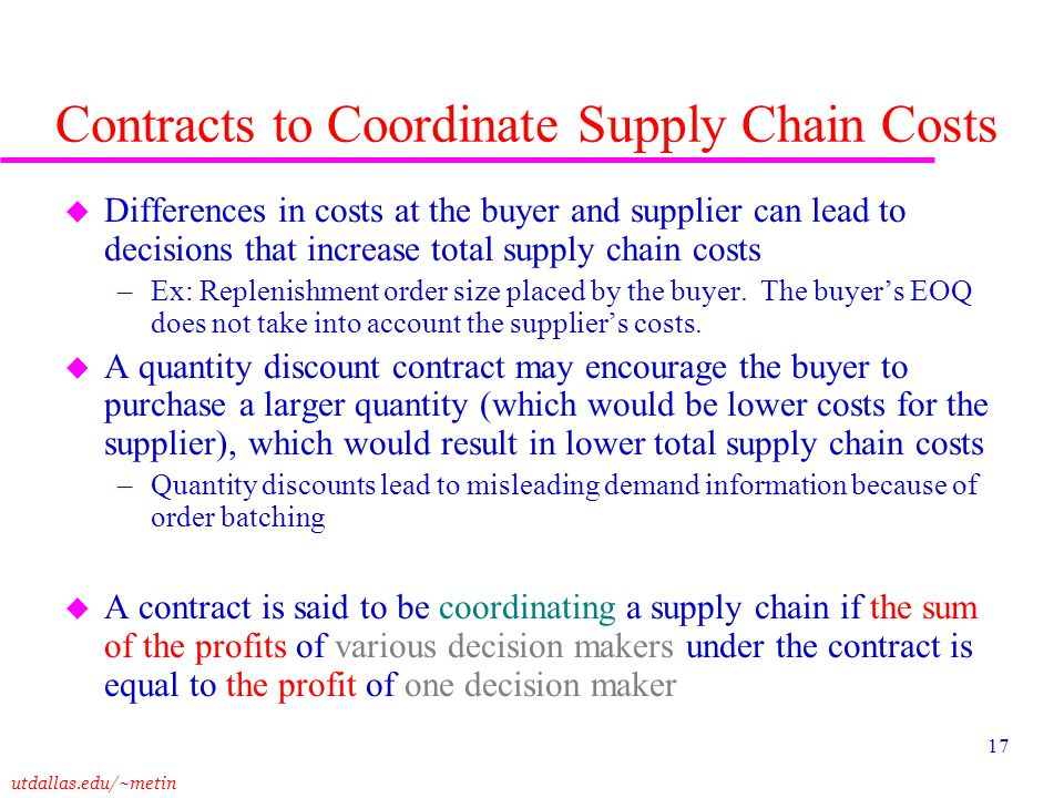 Contracts to Coordinate Supply Chain Costs