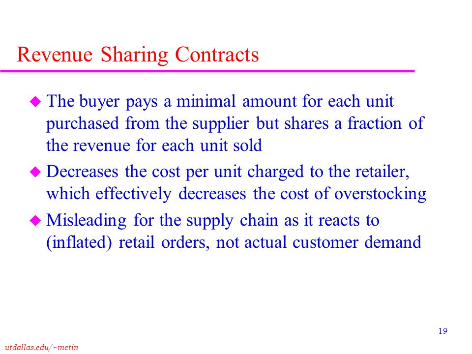 Revenue Sharing Contracts