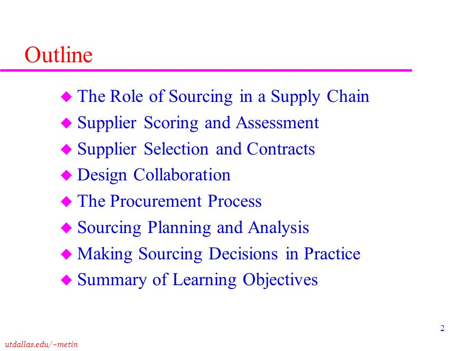 Outline The Role of Sourcing in a Supply Chain