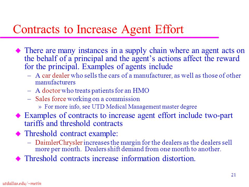 Contracts to Increase Agent Effort